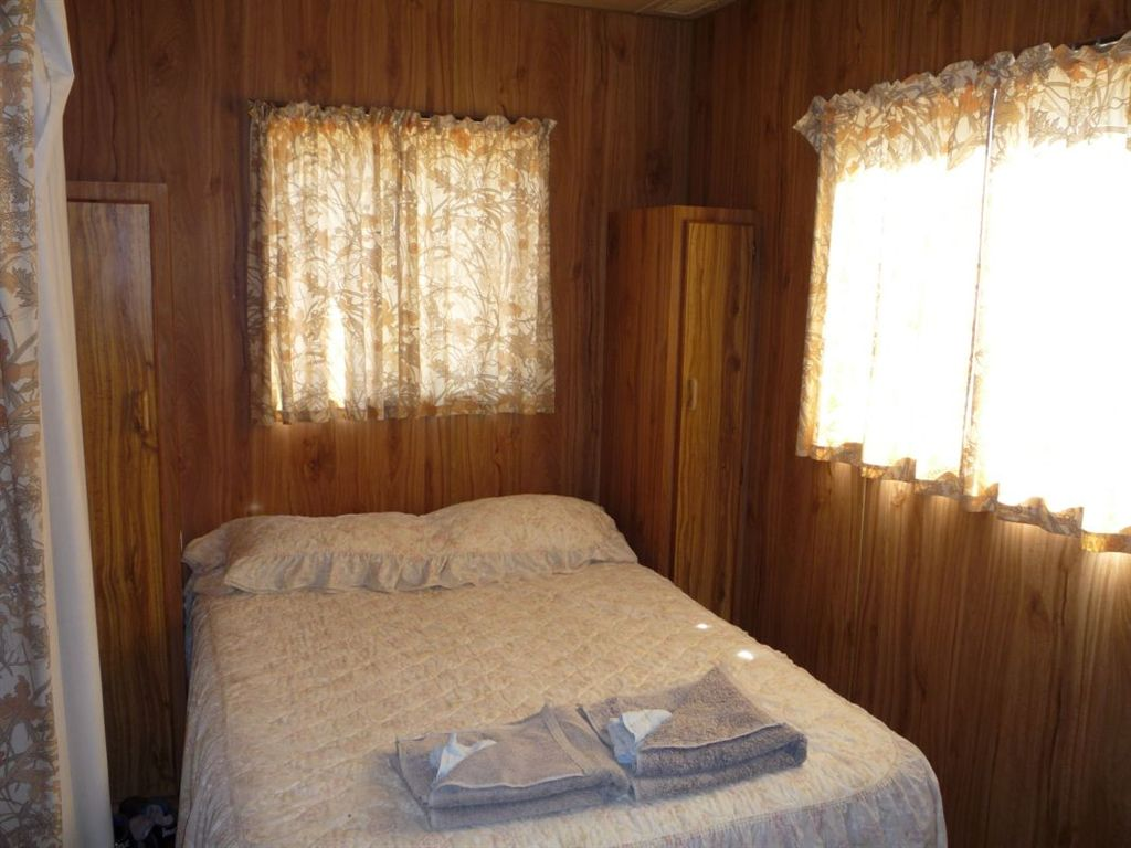 double bed in the onsite cabin