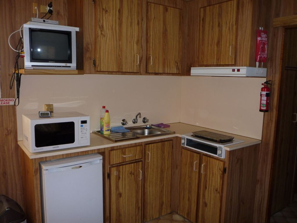 kitchen in this onsite cabin