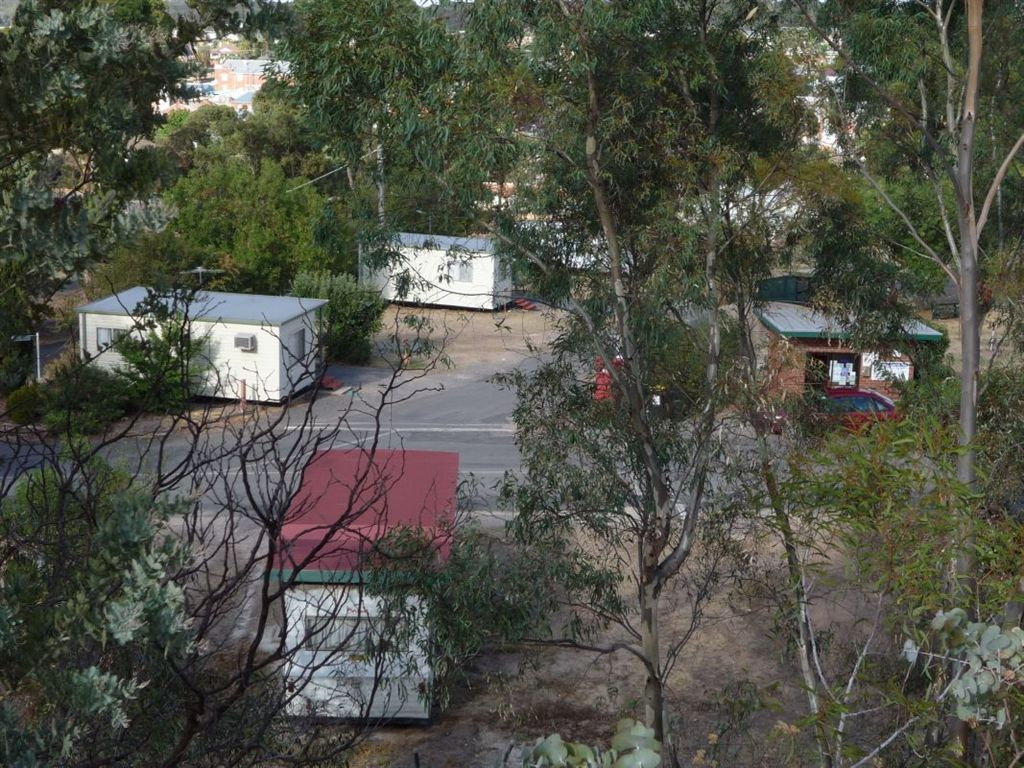 view of ensuite caravan & cabins from the hill at the back of the caravan park