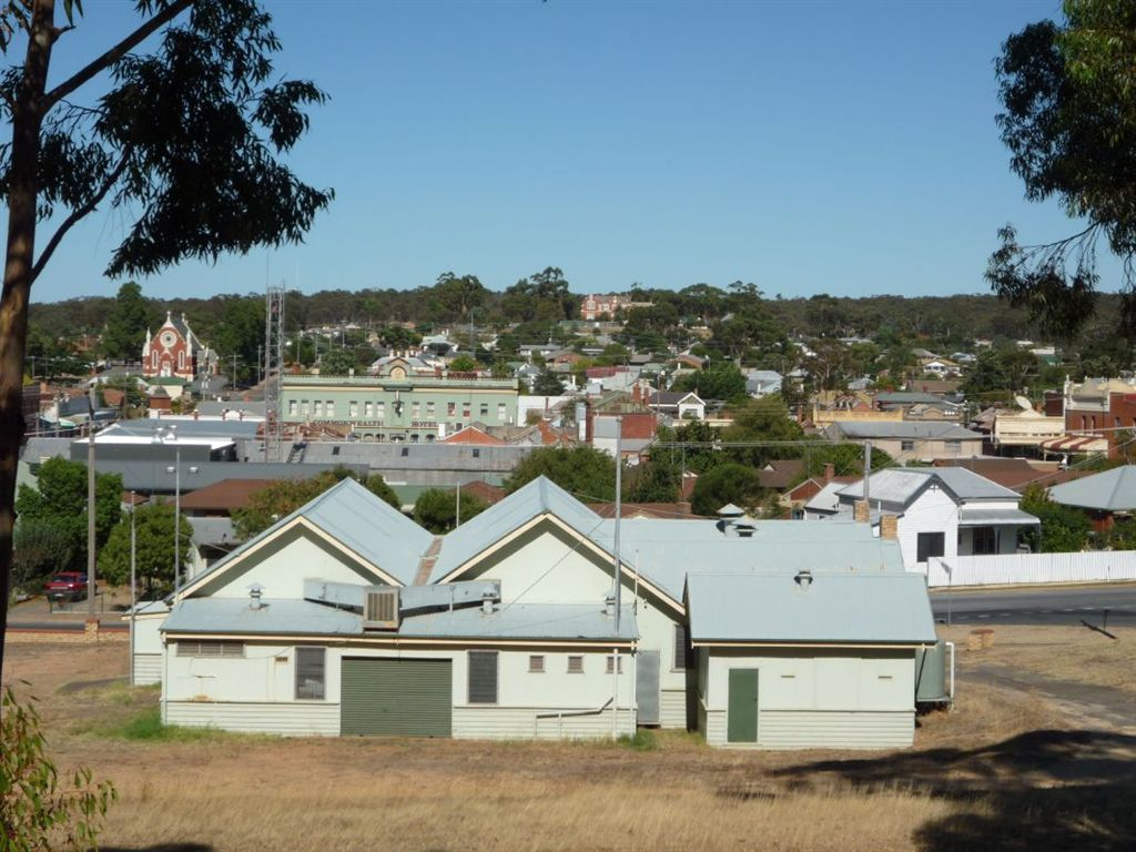 View from front of caravan park over the town