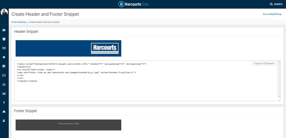 Harcourts Header and Footer