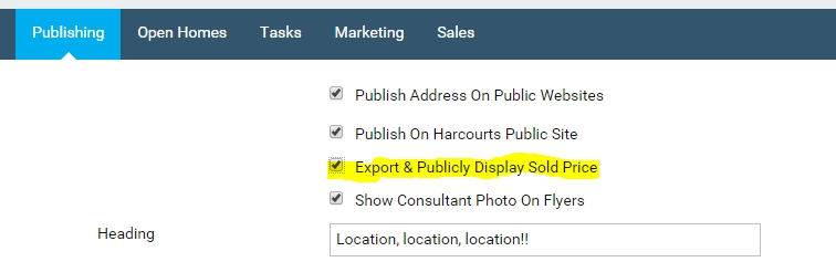 Export and Publicly Display Sold Price