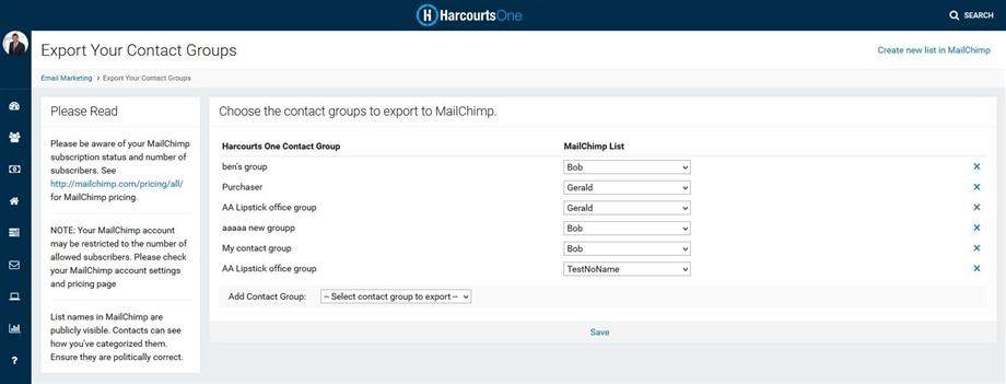 Harcourts MailChimp Contact Export