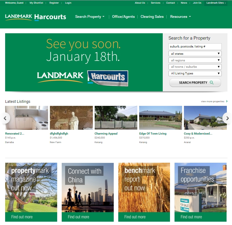 Re-Branded Landmark Harcourts Public Site