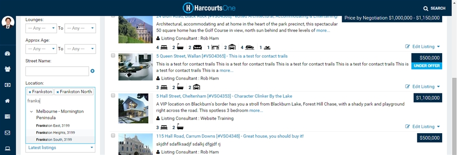 HarcourtsOne Multiple Location Search