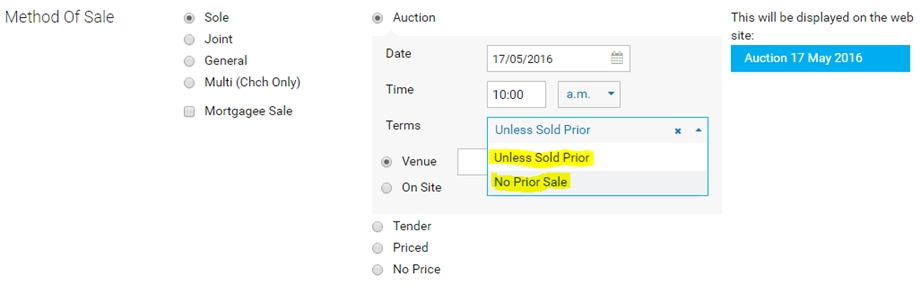 NZ Unless Sold Prior or No Prior Sale Options