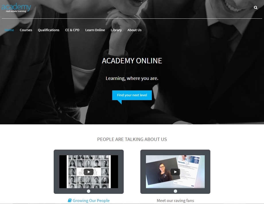 Re-Branded Academy Website