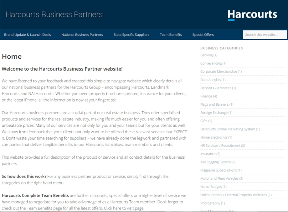 Re-Branded Harcourts Business Partners Website