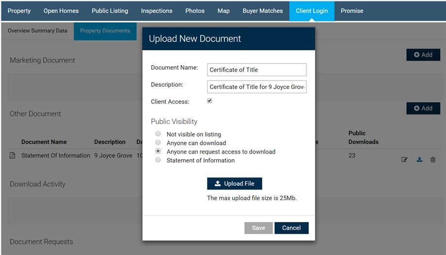 Upload Property Document