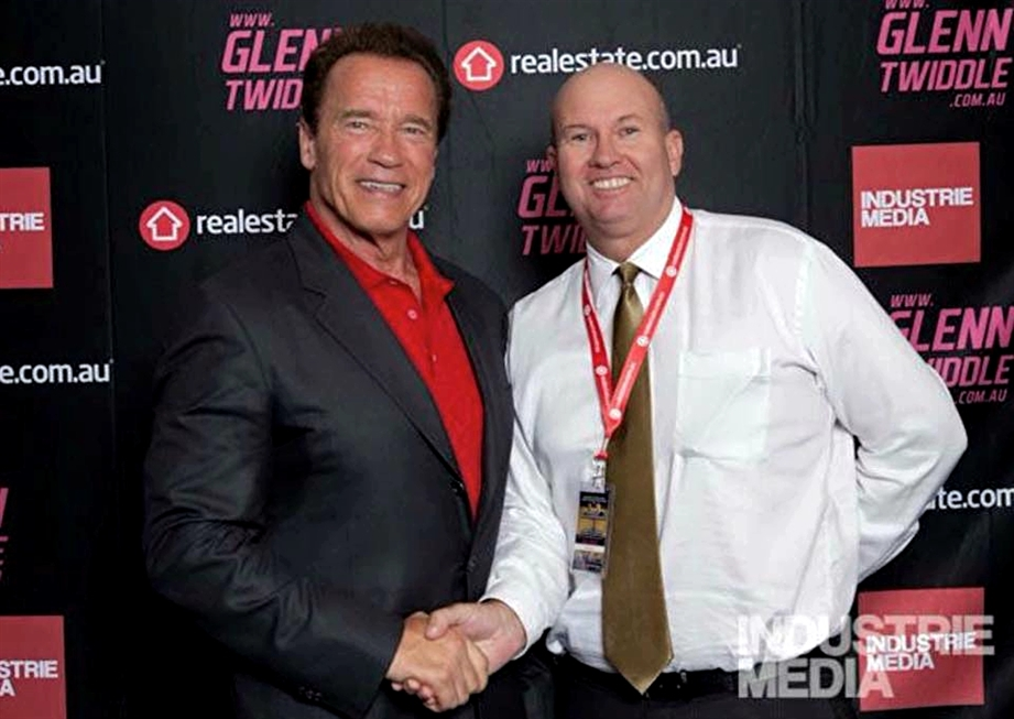 Patrick with Hollywood movie star Arnold Schwarzenegger