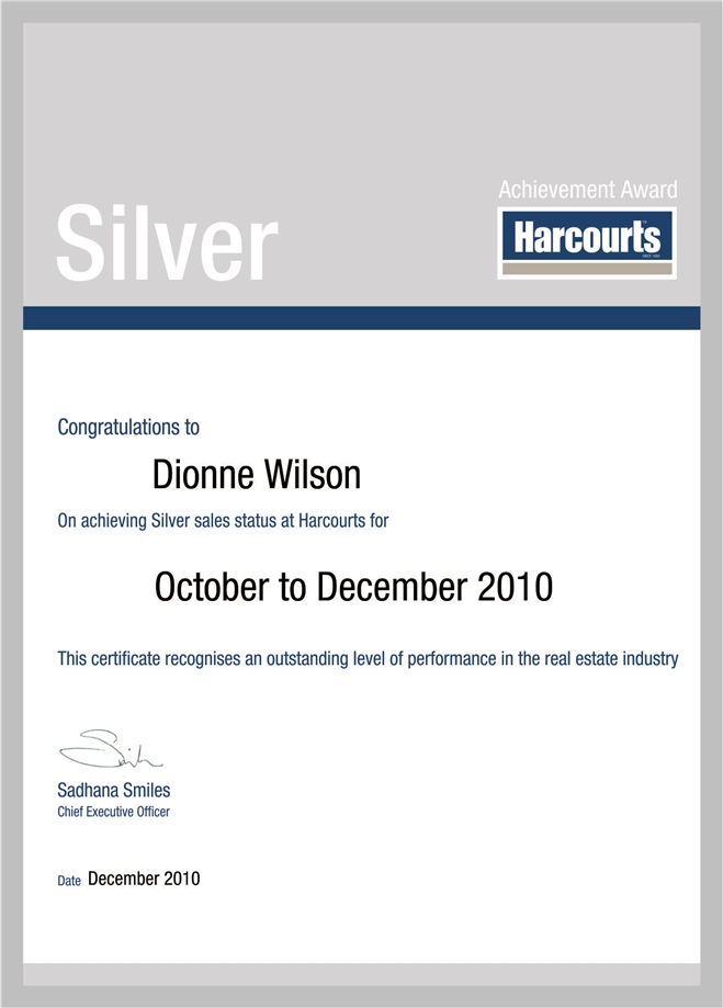Dionne Wilson Silver Award