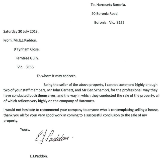 John Garnett Harcourts Boronia Ferntree Gully Knox Testimonial