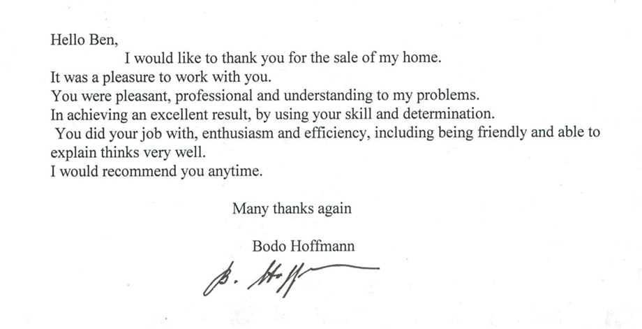 Testimonial Ben Schembri Harcourts Real Estate Boronia Bayswater Ferntree Gully The Basin Kilsyth SouthCity of Knox