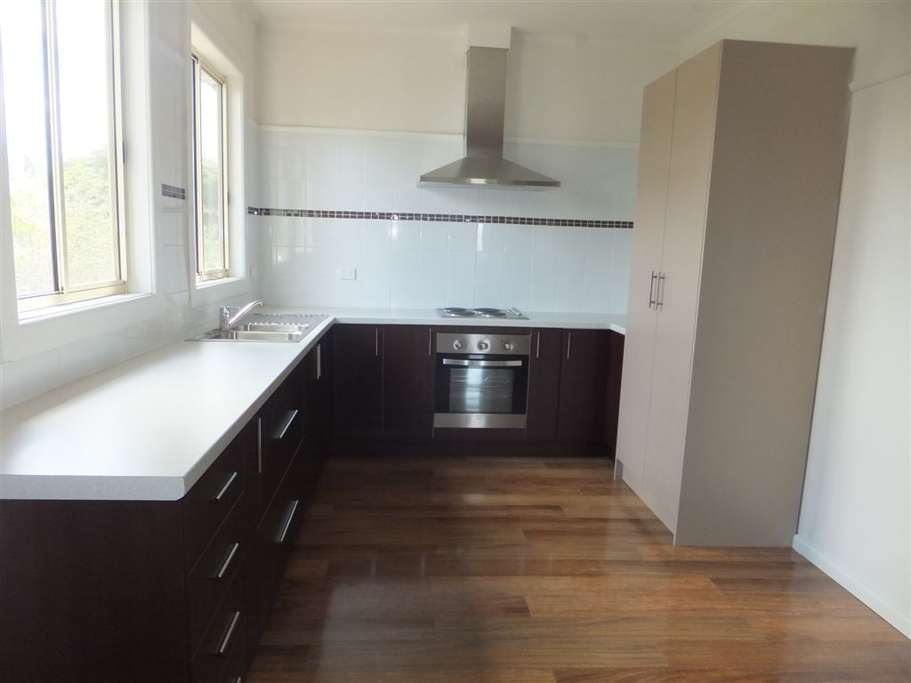 New kitchen with loads of cupboard space, pantry cupboards, under bench electric oven, hotplates & range hood
