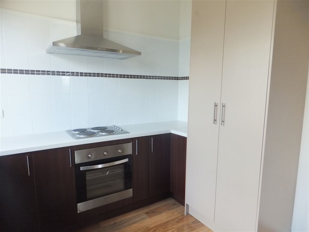 Under-bench electric oven & stainless steel range hood, large pantry cupboard & new decorative tiling