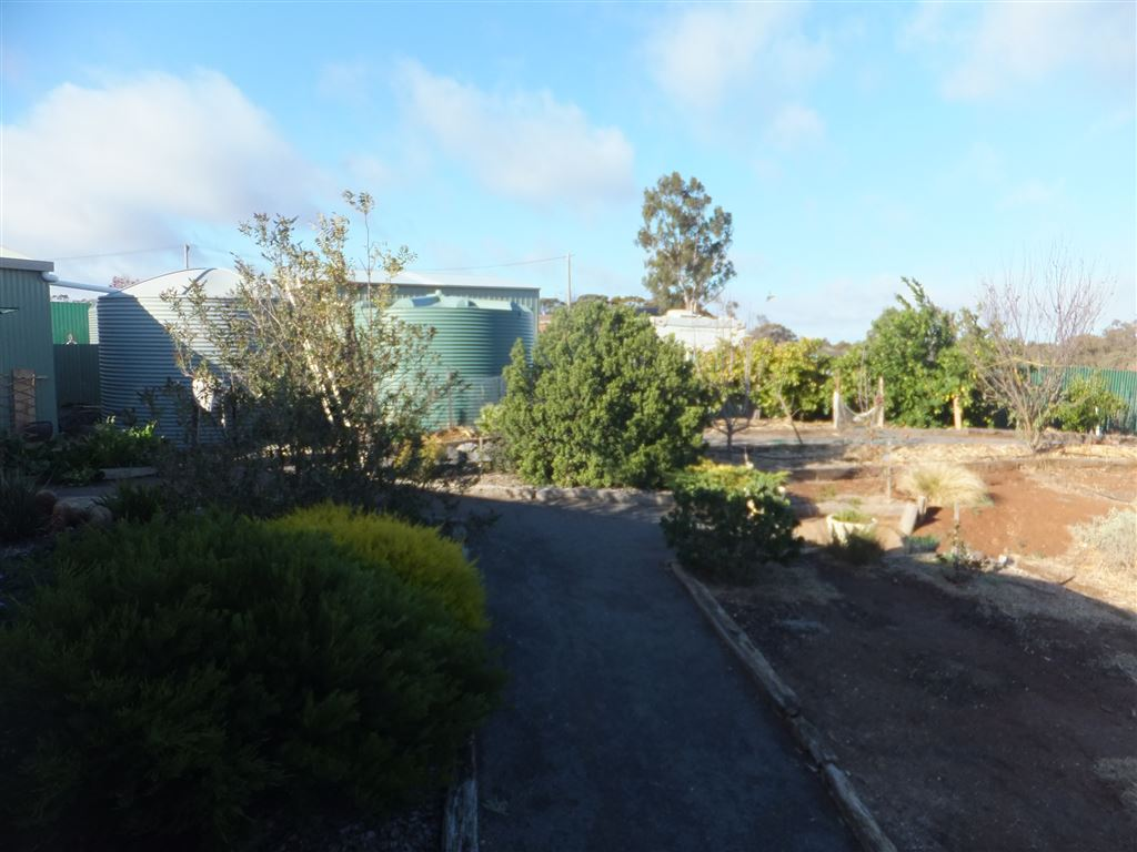 large rainwater tanks and footpath down to fruit trees