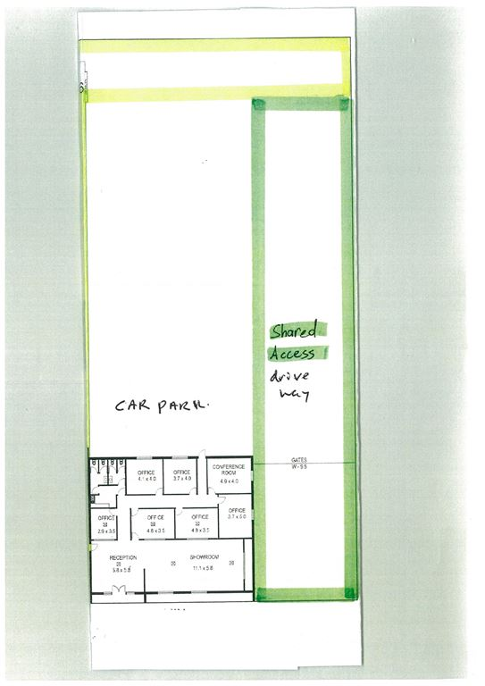 floor plan and site layout with car parking located at the rear of the building - office