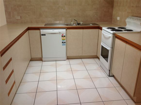 Kitchen with brand new dishwasher