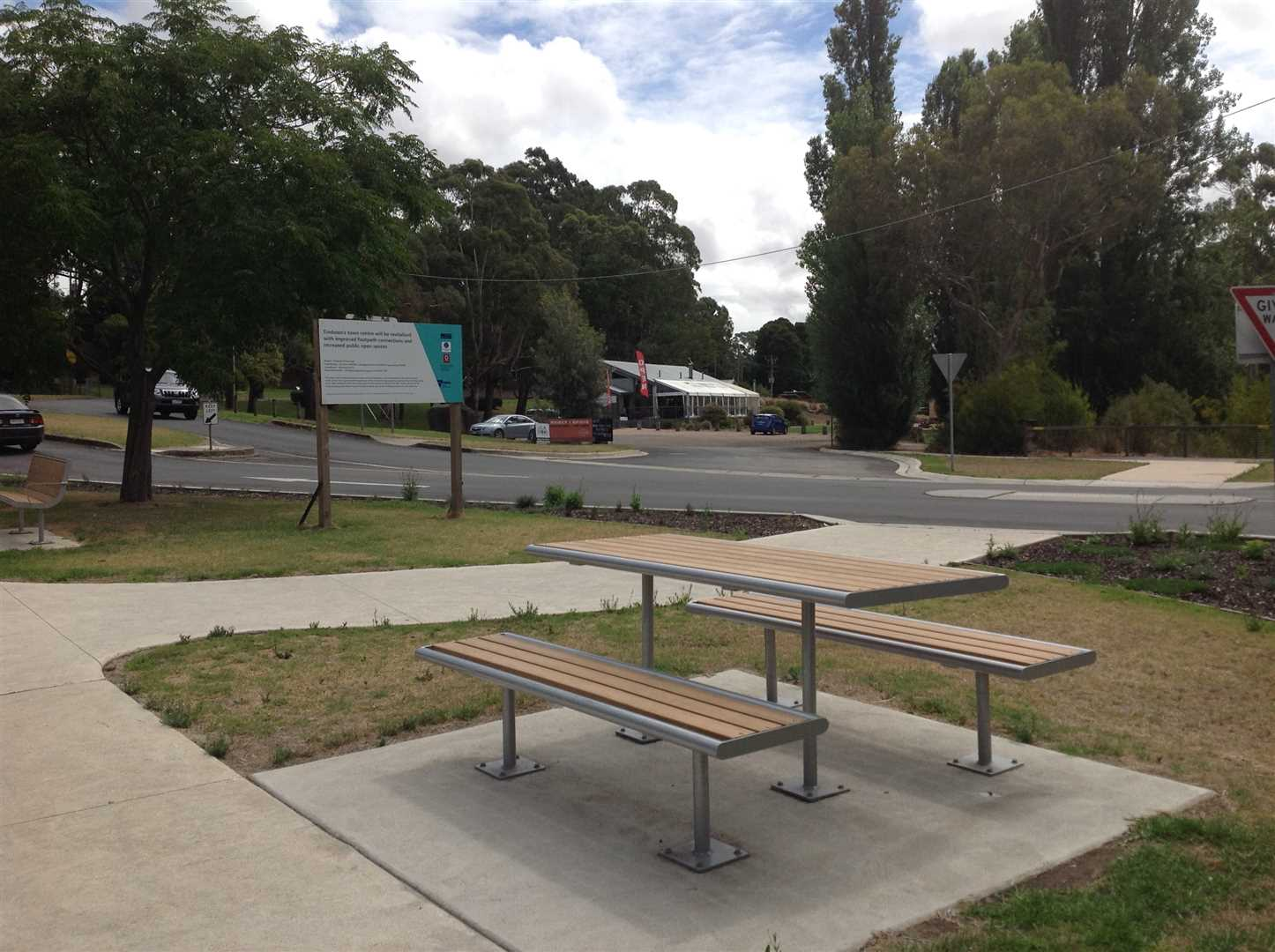 Picnic area opposite Rail Trail Precinct Timboon