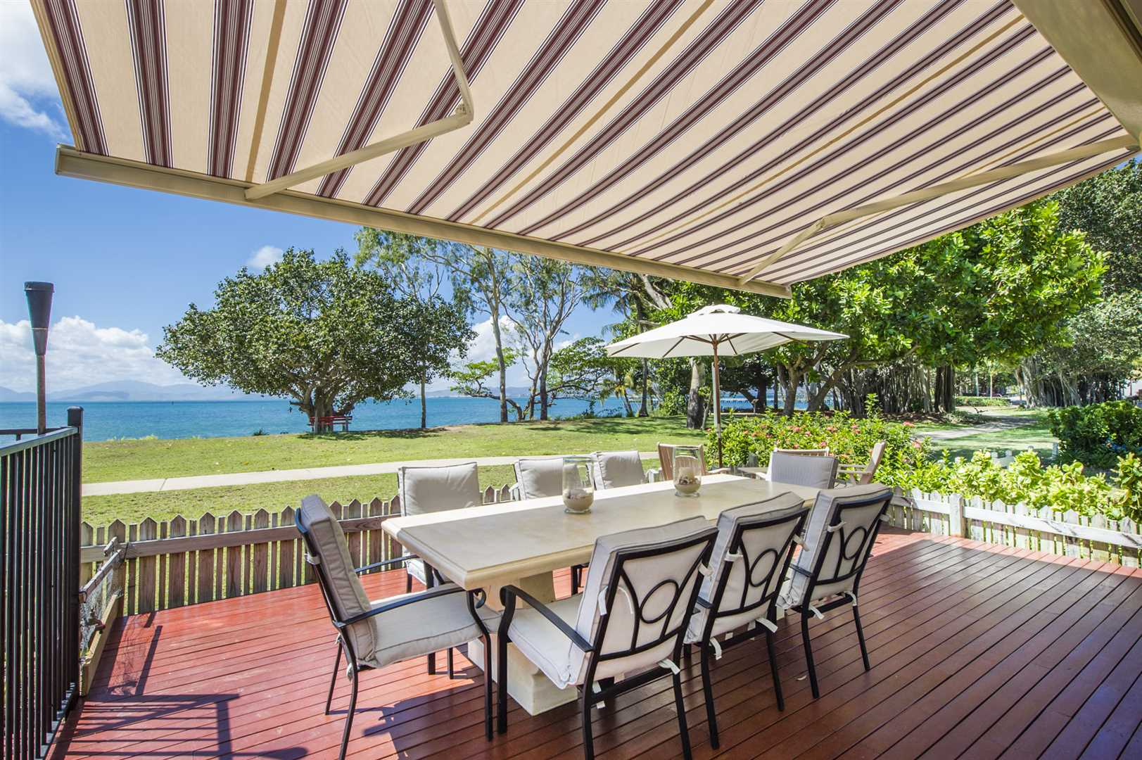 Outdoor entertaining area with awning