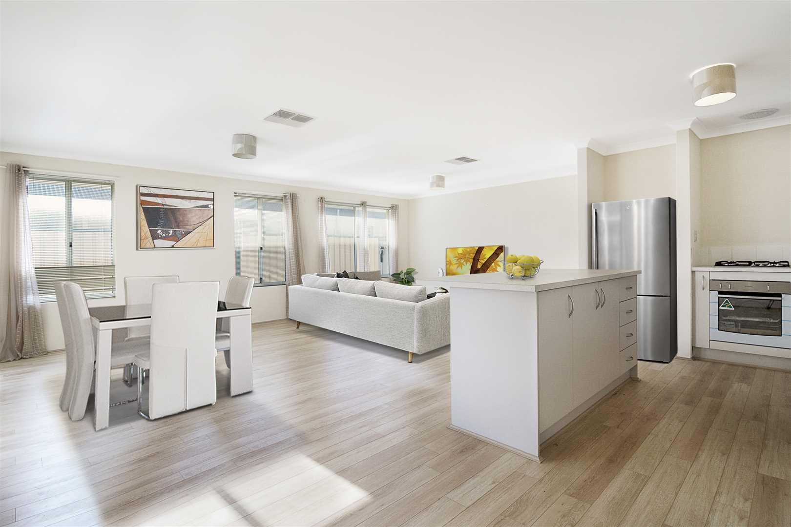 Airy open plan living area