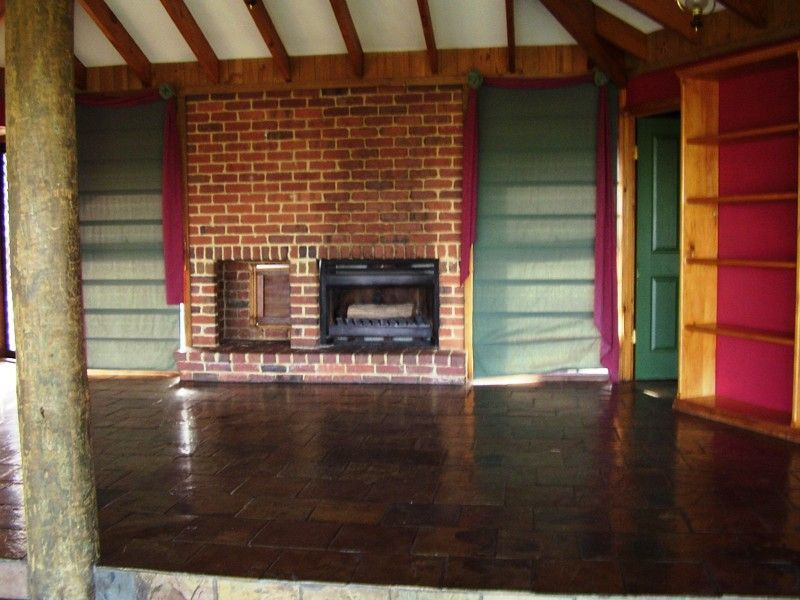 Open plan with wood fire place