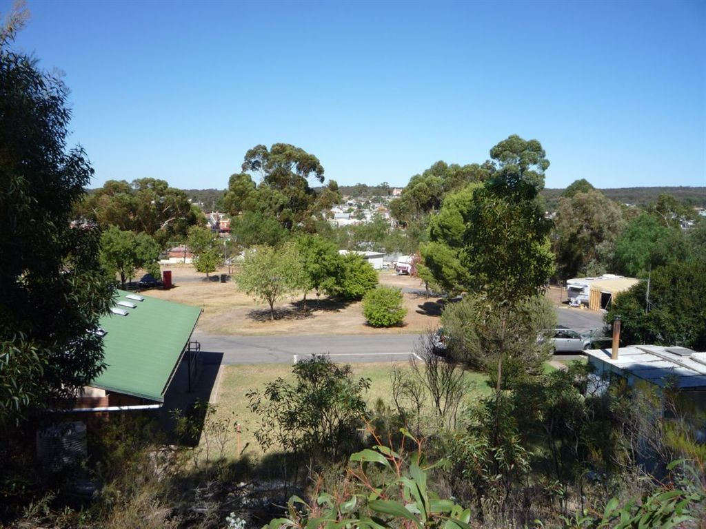 view of caravan park from the hill at the back