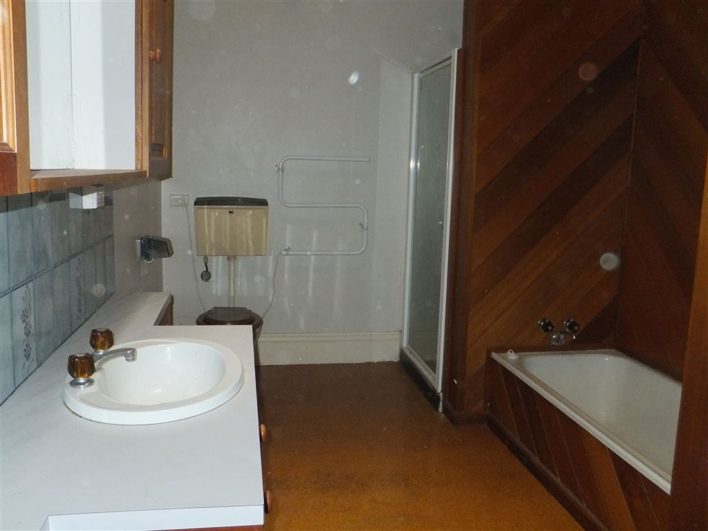Bathroom with separate bath and shower, wall length vanity and large mirrored storage cabinet