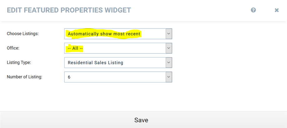 Automatic Feature Property Widget All Function