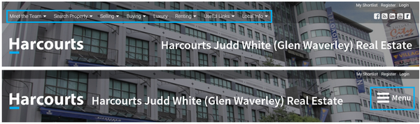 Harcourts Websites Desktop Menu