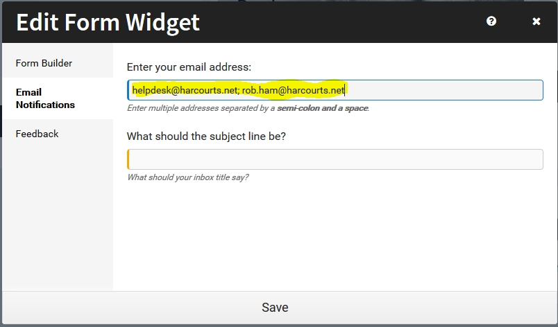 Forms Widget Multiple Email Addresses