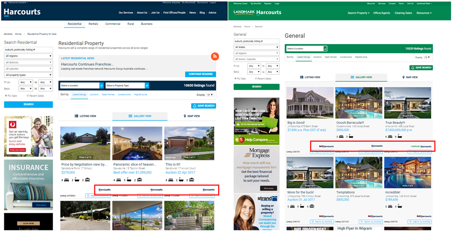Harcourts and Landmark Harcourts Website Listing Search Results with Logos