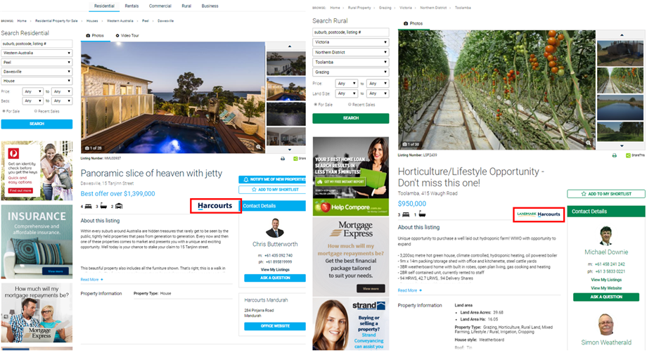 Harcourts and Landmark Harcourts Website Listing View Page with Logos