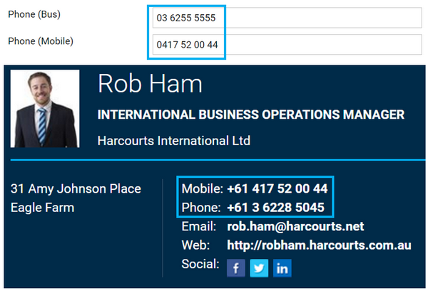 Harcourts Public Website International Phone Numbers