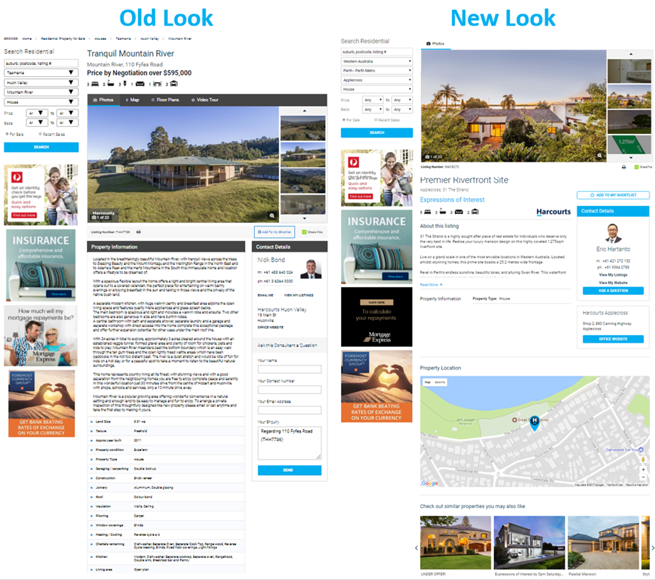 New Look Harcourts, Landmark Harcourts and NAI Harcourts Website Listing View Pages