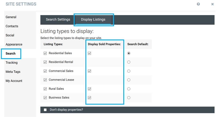 Office & Personal Websites Sold Settings