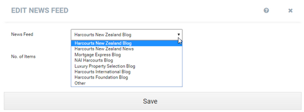 Harcourts Websites Predefined News Feed Links