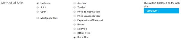 HarcourtsOne Method of Sale - Price +