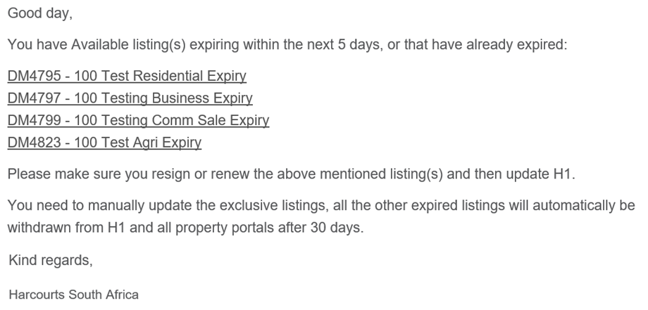 Expiring Listings Email