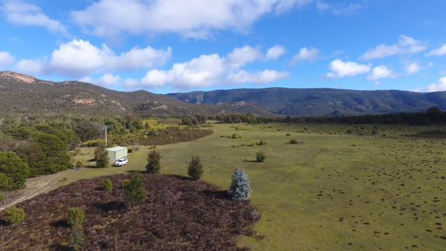 Elevated view over shed towards Halls Gap
