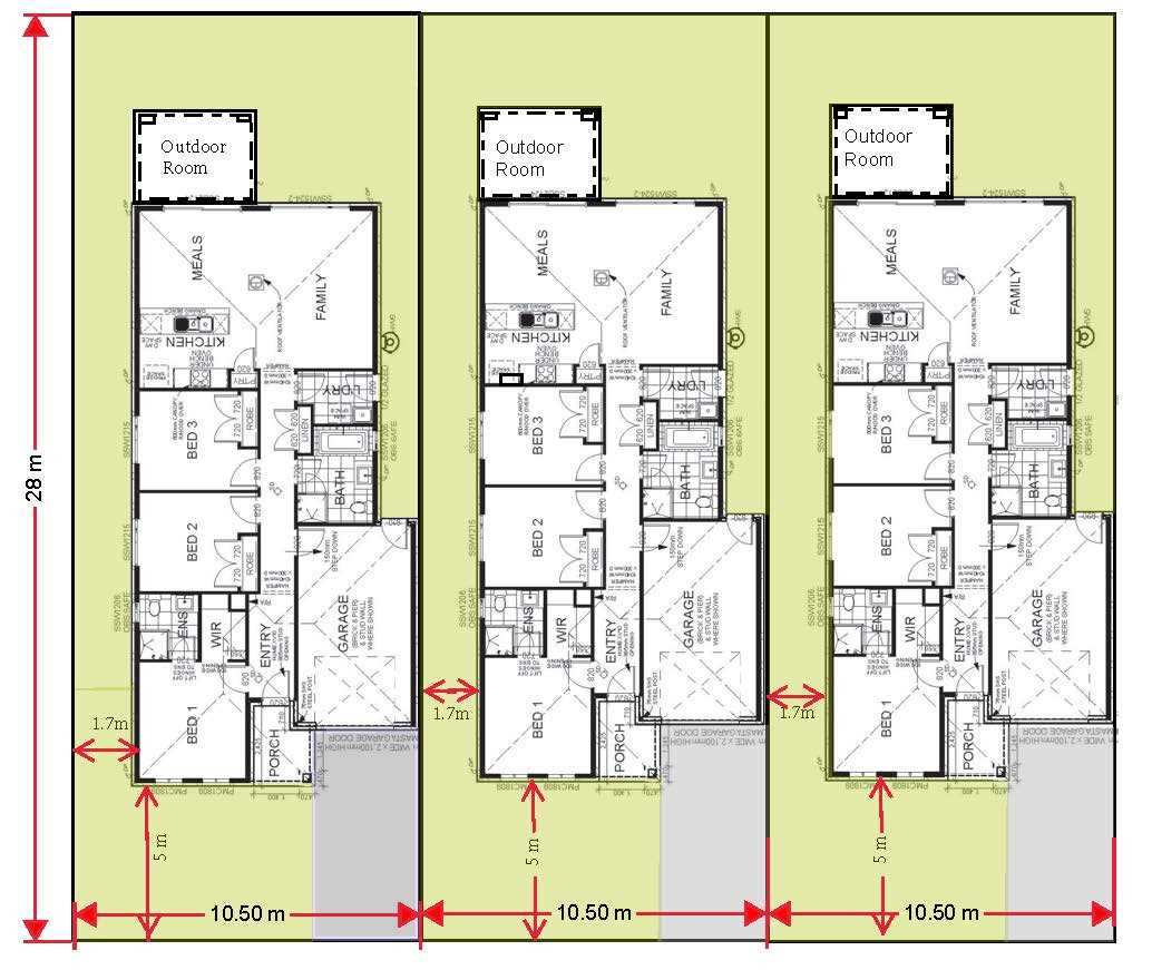 showing each dwelling is seperate & floorplan.