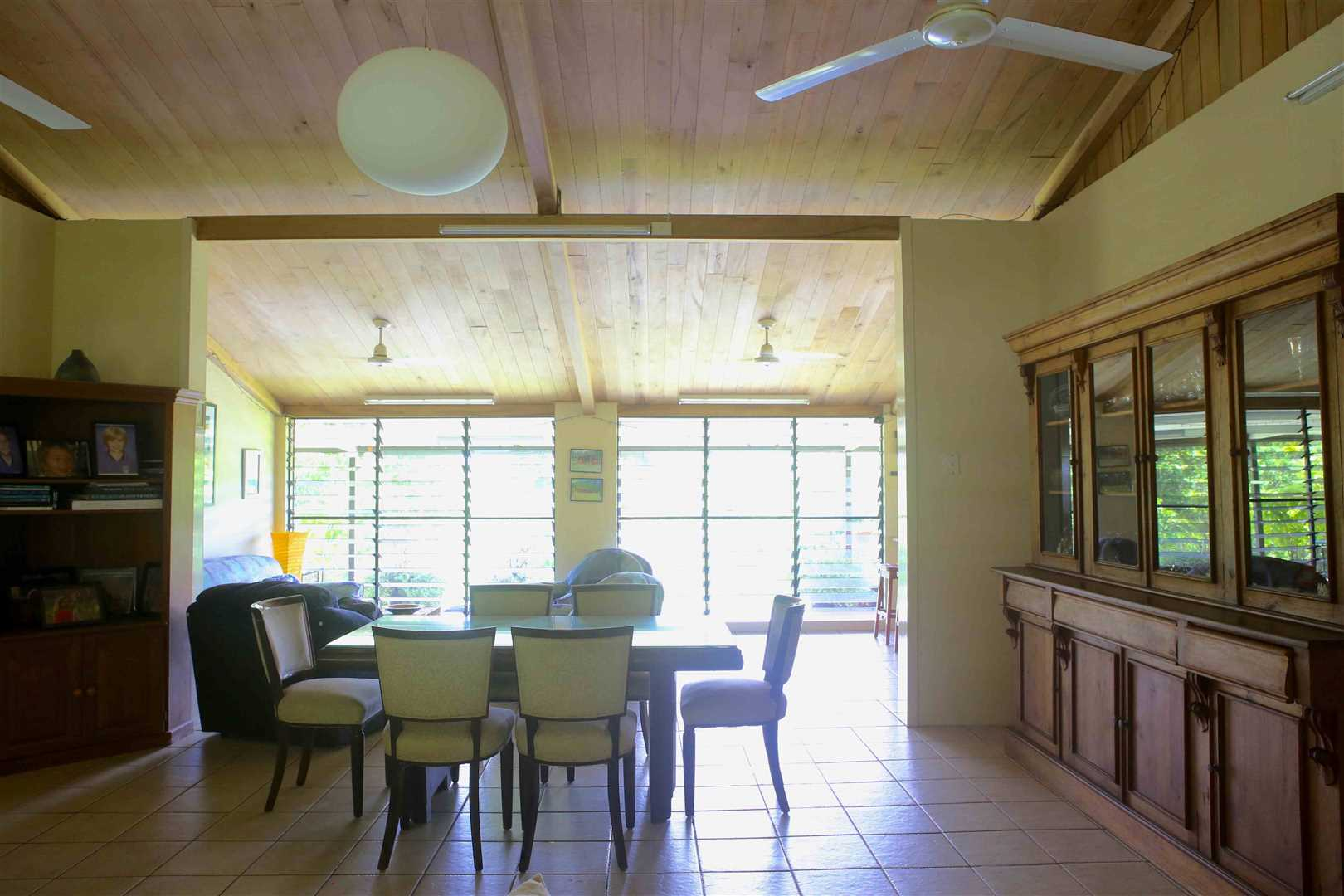 Inside view of part of home showing part of the open plan dining area