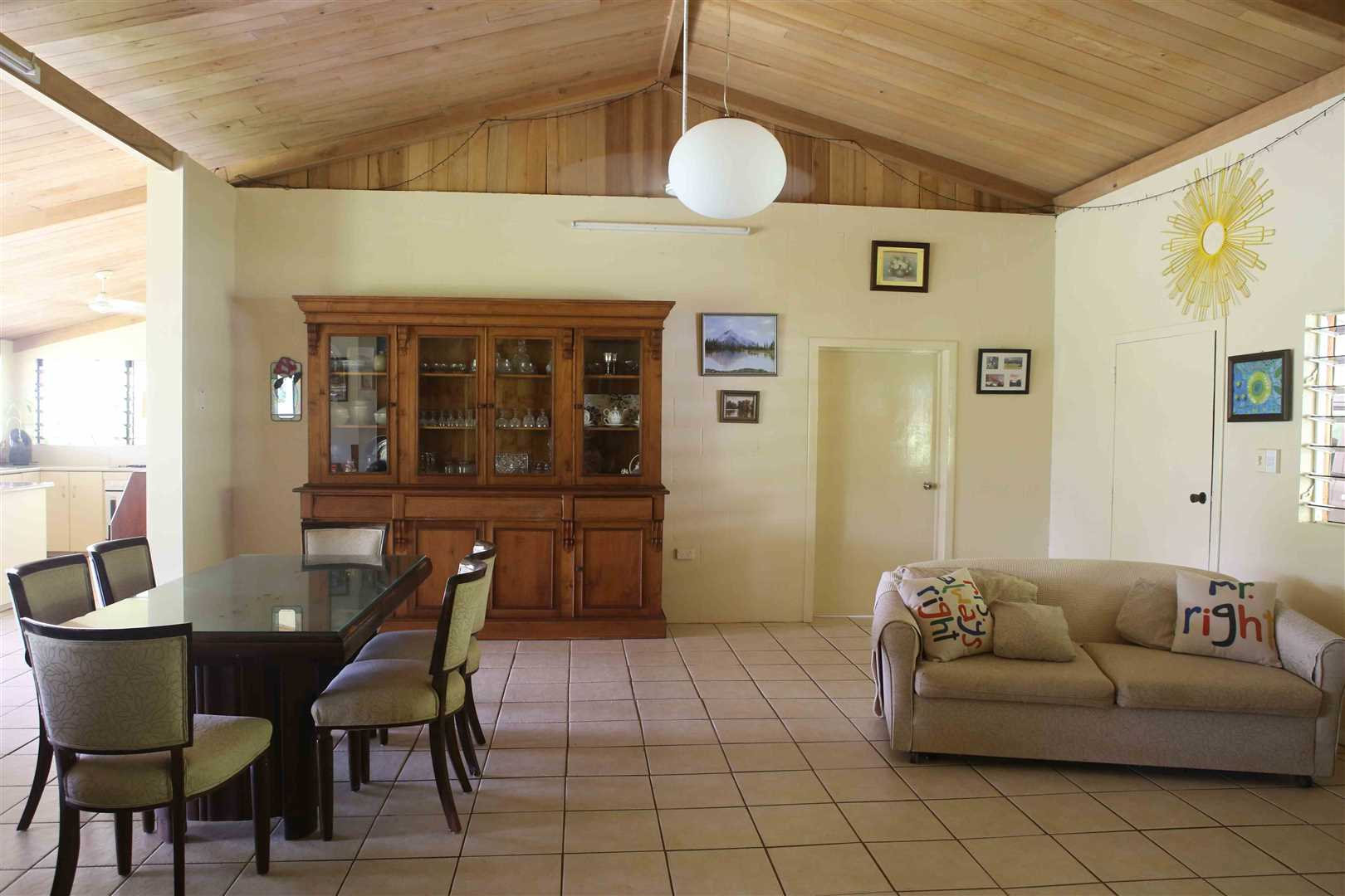 Inside view of part of home showing part of the open plan living and dining areas, photo 2