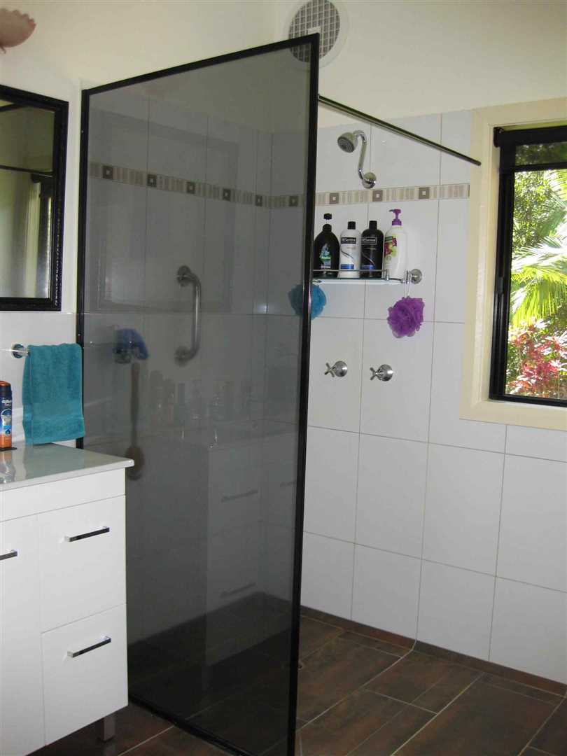 Inside view of part of home showing part of bathroom