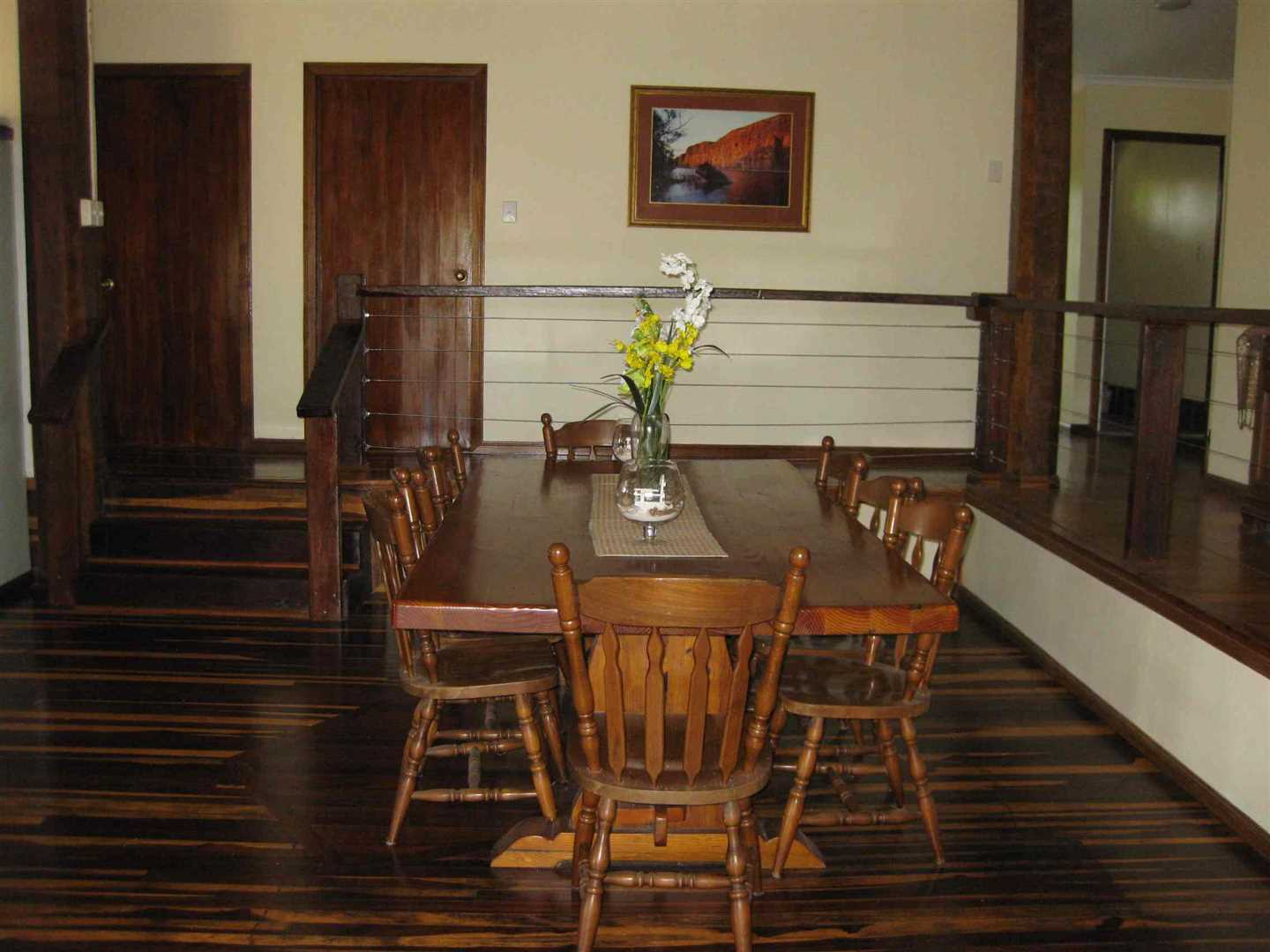 Inside view of part of home showing part of dining area