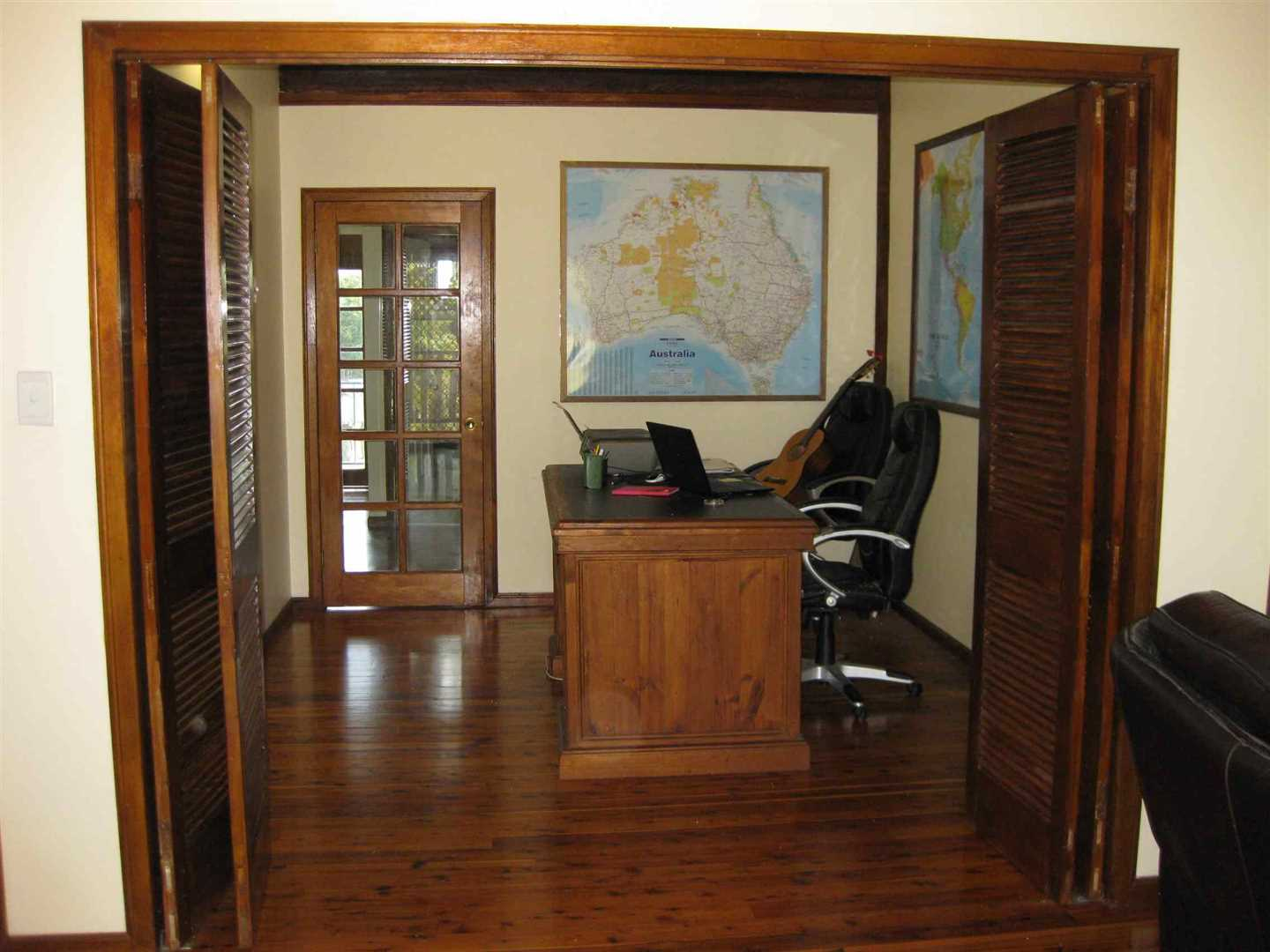 Inside view of part of home showing part of office