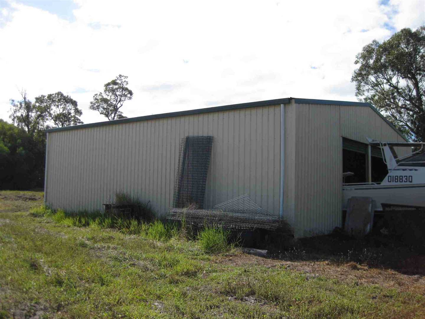 Outside view of part of lockable shed