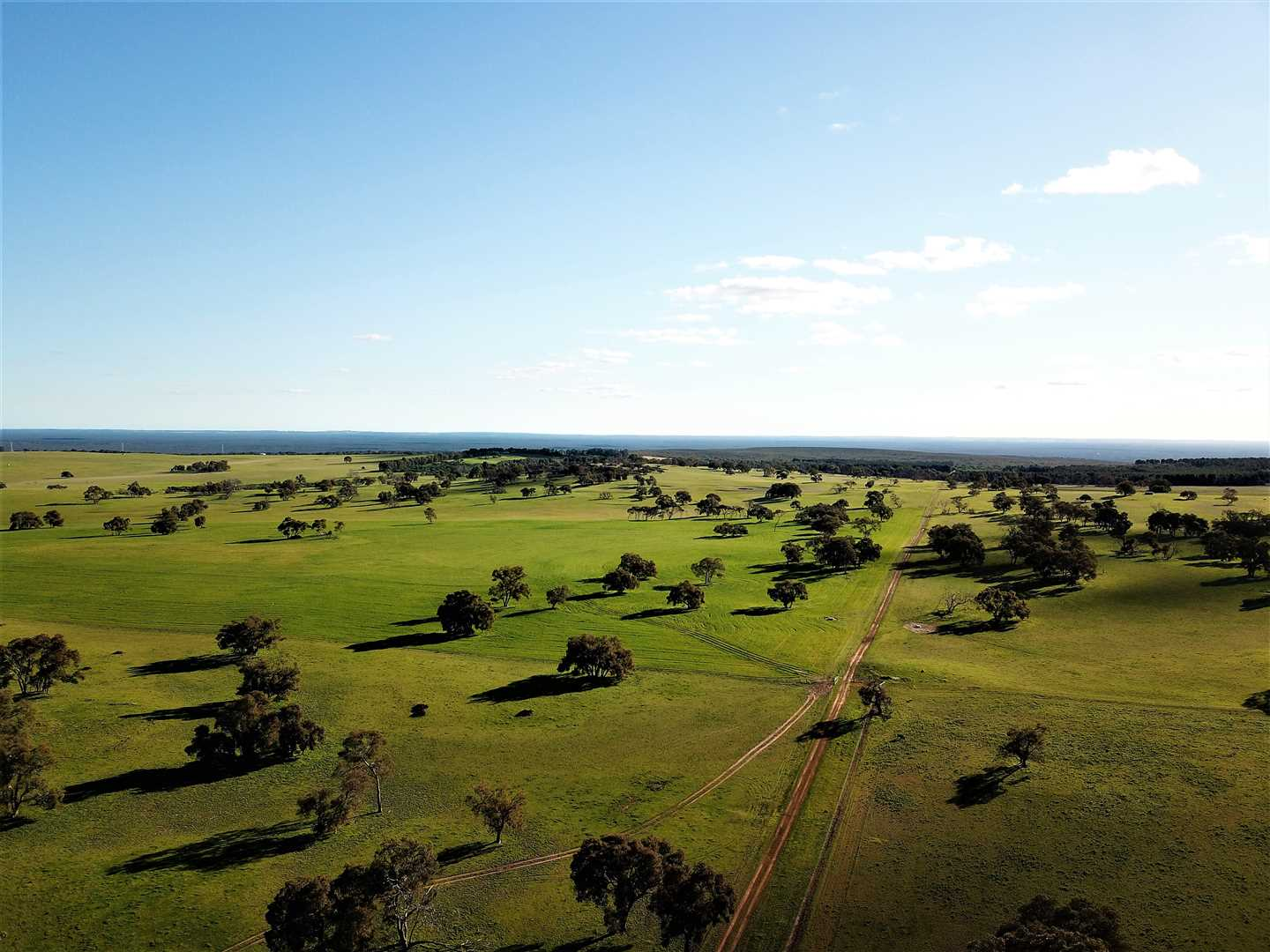 Drone facing West, looking towards the coast 40kms away approx