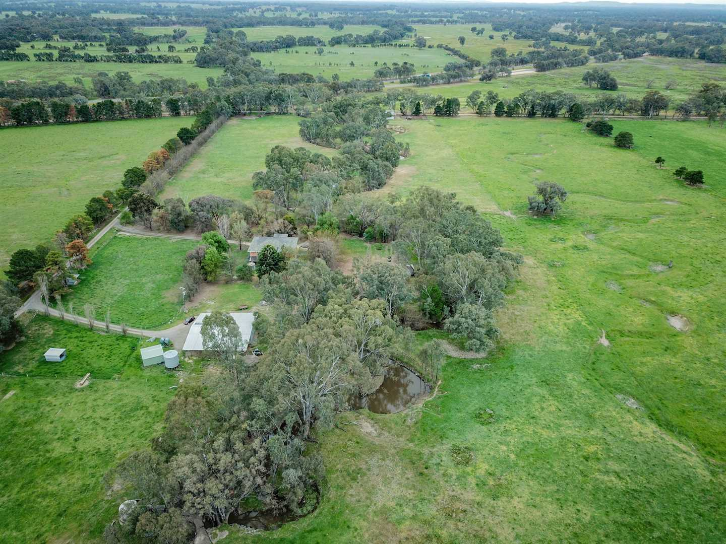 Aerial Creek and House