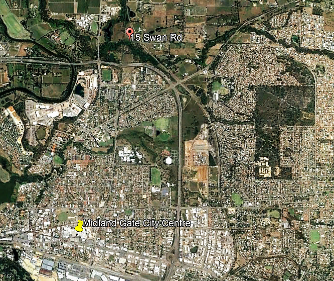 15 Swan rd to Midland Gate overview map